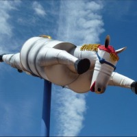 Tin horse on a pole